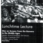 Lunchtime Lecture on War on Screen: From the Romans to the Middle Ages
